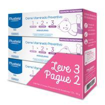Mustela Creme Vitaminado Preventivo de Assaduras 123 Kit  3 unidades -