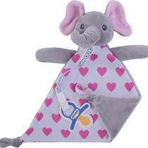 Naninha com prendedor de chupeta elefante cinza e rosa pimpolho -
