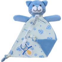 Naninha com prendedor de chupeta gato azul pimpolho -