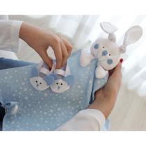 Naninha Malha e Tricoline Estrelas Azul e Branco Forro Fralda com Sapatinho - Mais que baby