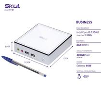 Nano computador business b500 - i5 5300u 2.3ghz mem 8gb ddr3 sodimm ssd 480gb wi-fi fonte externa linux - SKUL