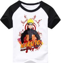 Naruto Camiseta Raglan infantil Naruto - Mangas preta - Visuarte