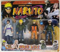 Naruto Kit 4 Bonecos Com Led E Acessorios Articulados 14cm -