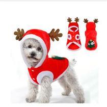 Natal Pet - Roupa Pet com Touca Rena Vermelho e Branco e Marrom -