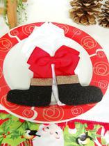 Natal Porta Guardanapo Laço Papai Noel Enfeite - Rosa Mix