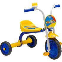 Nathor Triciclo You 3 Boy Infantil Velotrol em Aluminio Motoca Menino Azul e Amarelo -