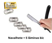 Navalhete Inox Para Barbear Profissional Navalha + 5 lâmina - Sekich