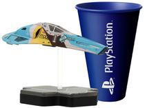 Nave Colecionável Wipeout FX350 - Totaku + Copo PlayStation Azul