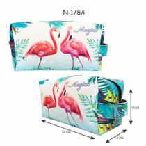 Necessaire Feminina com Estampa Flamingos, Magicc - Magicc Bolsas
