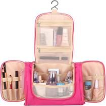 Necessaire portatil organizador de viagem frasqueira higiene pessoal dobravel shampoo maquiagem rosa - Kangur