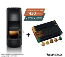 Nespresso Essenza Mini Preta, Cafeteira 110V + 50 Cápsulas de Café Equilibrado -