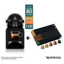 Nespresso Inissia Preta, Cafeteira 110V + 50 Cápsulas de Café Equilibrado -