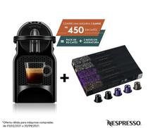 Nespresso Inissia Preta, Cafeteira 220V + 50 Cápsulas de Café Intenso -