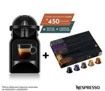 Nespresso Inissia Preta, Cafeteira 220V + 50 Cápsulas de Café Variado -