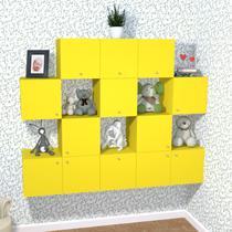 Nicho Cubo com 1 Porta Tolix Kit Cubos Baby Bramov Móveis Amarelo -
