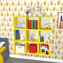 Nicho Cubo com Fundo Branco Enea Baby Bramov Móveis Amarelo -