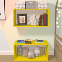 Nicho Cubo com Fundo Branco Glas Baby Bramov Móveis Amarelo -