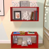 Nicho Cubo com Fundo Branco Glas Baby Bramov Móveis Vermelho -