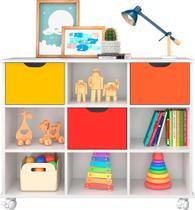 Nicho Organizador com 3 gavetas color e rodízios - Qmovi -