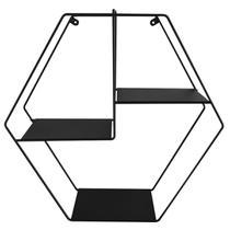 Nicho Prateleira Flutuante Estante Hexagonal Aramada Preta - Zanline