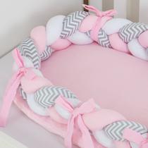 Ninho Redutor Berço Trança 3 Peças Chevron Cinza Com Rosa - Império Do Bebê