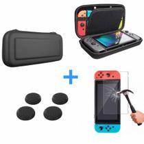 Nintend Switch Kit Bag Case Capa Estojo + Película Vidro + 4 Grip -