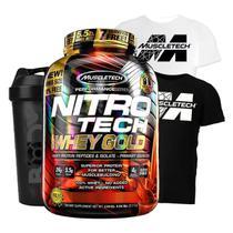Nitro tech 100% whey gold 2.5kg + camiseta dry fit branca gg + shaker (morango) - MUSCLETECH