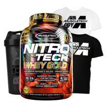 Nitro tech 100% whey gold 2.5kg + camiseta dry fit preta g + shaker (morango) - MUSCLETECH