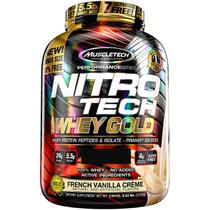 Nitrotech 100 whey gold (2.49kg) sabor baunilha francesa - muscletech -