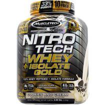 Nitrotech whey isolate gold (1,8kg) sabor biscoito e creme - muscletech -