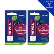NIVEA Hidratante Labial Shine Amora Hidratação Profunda 4,8 g  - 2 unidades -