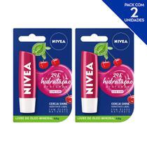 NIVEA Hidratante Labial Shine Cereja Hidratação Profunda 4,8 g  - 2 unidades -