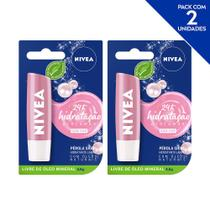 NIVEA Hidratante Labial Shine Pérola Hidratação Profunda 4,8 g  - 2 unidades -