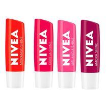 Nivea Protetor Labial Shine Kit  Morango + Cereja + Amora + Melancia -