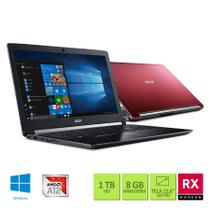 Notebook Acer A515-41G-1480 AMD A12 2.7Ghz 8GB RAM 1TB HD AMD Radeon RX 540 de 2GB 15.6