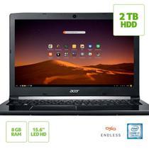 """Notebook Acer A515-51-74ZA, Core i7 7500U, 15,6"""", RAM 8GB, HD 2 TB, Linux 7ª - Preto -"""