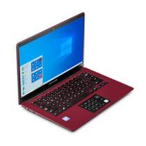 Notebook Multilaser Legacy Cloud, com Windows 10 Home, Processador Intel Quad Core, Memoria 2GB 32GB, Tela 14,1 Pol. HD, Vermelho - PC133 -