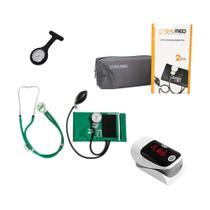 Novo Conjunto Aparelho de Pressão Estetoscópio Pamed Verde Enfermagem Medicina -
