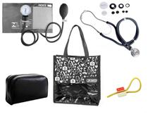 Novo Kit Aparelho de Pressão com Estetoscópio Rappaport Premium Grafite + Bolsa JRMED -