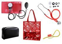 Novo Kit Aparelho de Pressão com Estetoscópio Rappaport Premium Vermelho + Bolsa JRMED -
