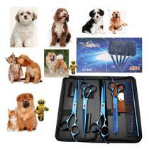 Novo Kit Tesouras Banho E Tosa Pet Shop Profissional 7 Polegadas - clapam