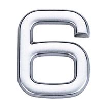 Número 6 de ABS auto-adesivo 3,9cm cromado Bemfixa -