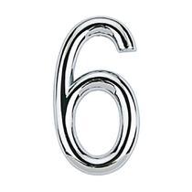 Número 6 de aço Zamac auto-adesivo 7,5cm cromado Bemfixa -