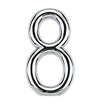 Número 8 de aço Zamac auto-adesivo 7,5cm cromado Bemfixa -