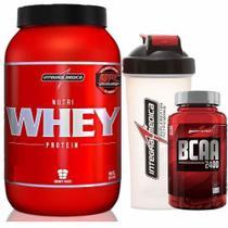 Nutri Whey Protein 907g Morango + BCAA 2400 - 100 caps + Coqueteleira 600ml - Integralmádica - Integral Médica
