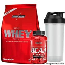 Nutri Whey Protein Refil 907g Choco + Amino BCAA TOP 120 caps + Coqueteleira 600ml - Integralmédica - Integral Médica
