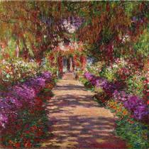 O Caminho do Jardim de Monet - Claude Monet - Tela 30x30 Para Quadro - Santhatela