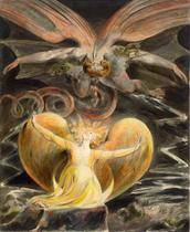 O Grande Dragão Vermelho e a Mulher Vestida Como o Sol (1810) - William Blake - 30x37 - Tela Canvas Para Quadro - Santhatela