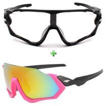 Óculos Ciclismo Feminino Espelhado Sol + Noite Transparente - Esportivo