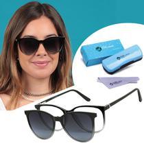 Óculos Clipon Armação De Grau e Sol Feminino Redondo Preto Transparente Isabela Dias Original 5009 -